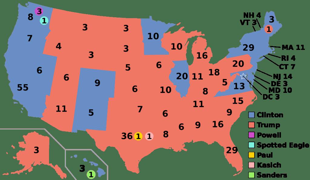 Результаты выборов в США 2016 по штатам