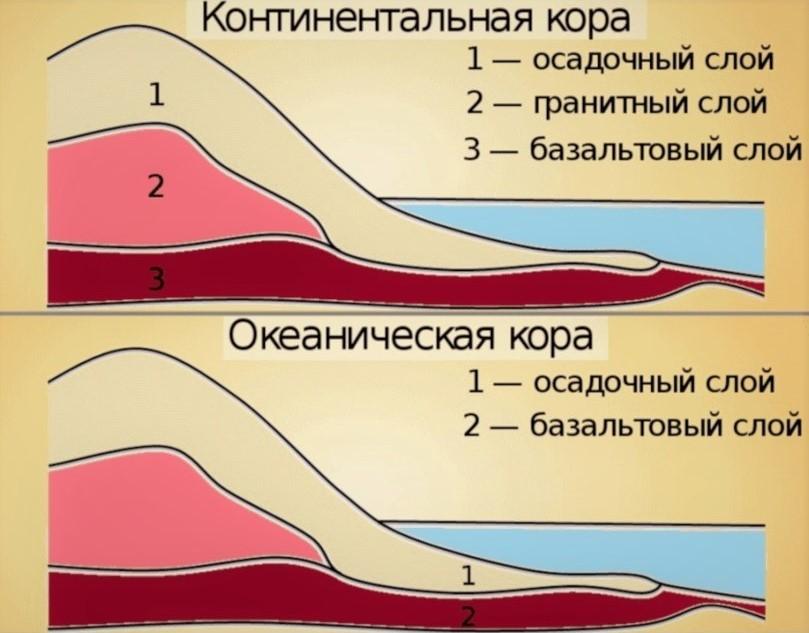 Сравнение континентальной и океанической коры