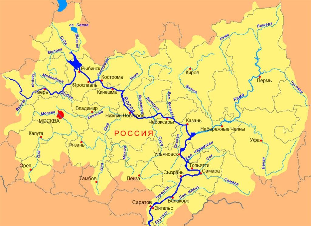Волга и Кама на карте