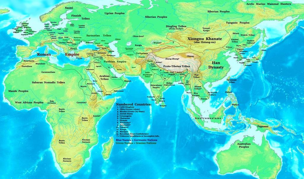 Восточное полушарие в 1-й год нашей эры