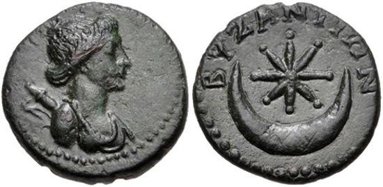 Византийская монета (1 век) на оборотной стороне.