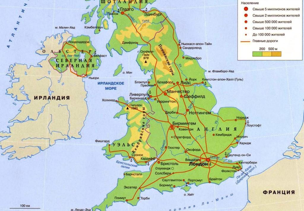Уэльс на карте
