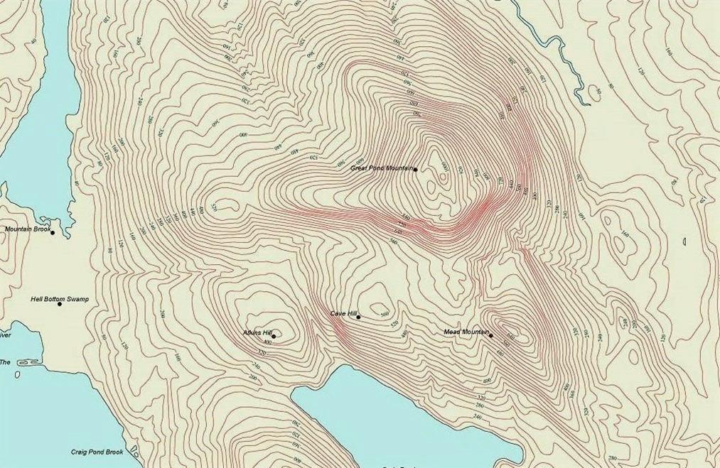 Пример карты, при составлении которой использовалась изогипса