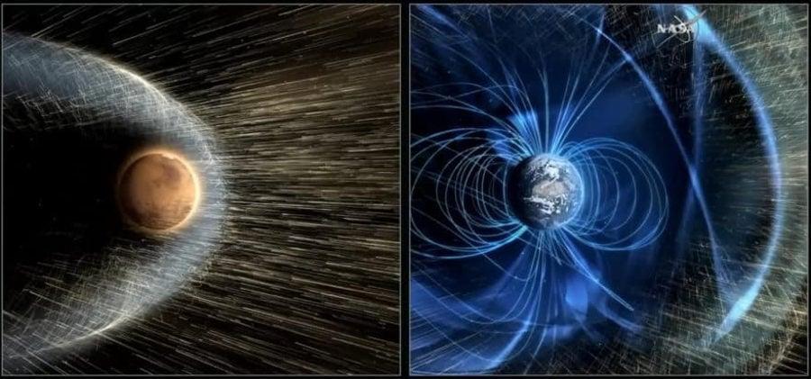 Магнитное поле Земли защищает нас от от воздействия солнечного ветра. Mapc лишен такой возможности