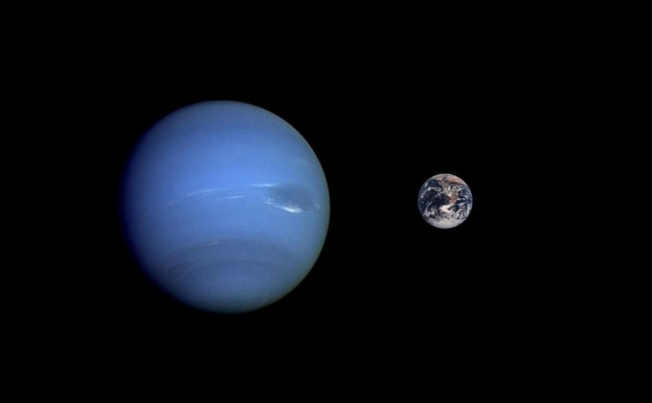 Соотношение размеров Нептуна и Земли