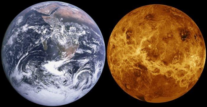 Сравнение размеров Земли и Венеры