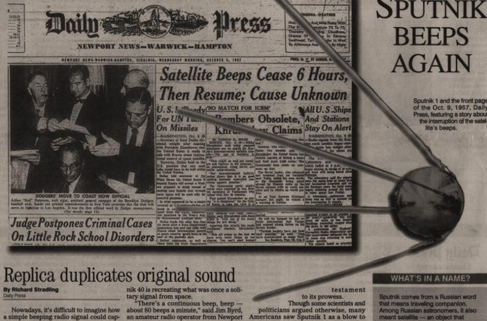 Страница из зарубежной газеты, где написано о Первом Спутнике