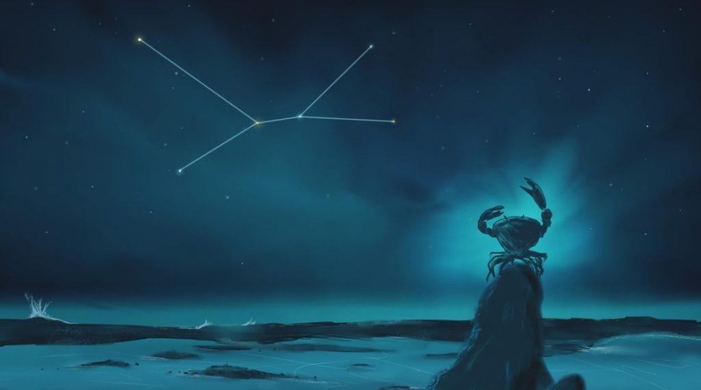 Изображение созвездие на фоне мифического краба