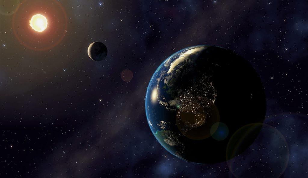 Расположение Земли, Луны и Солнца в момент затмения